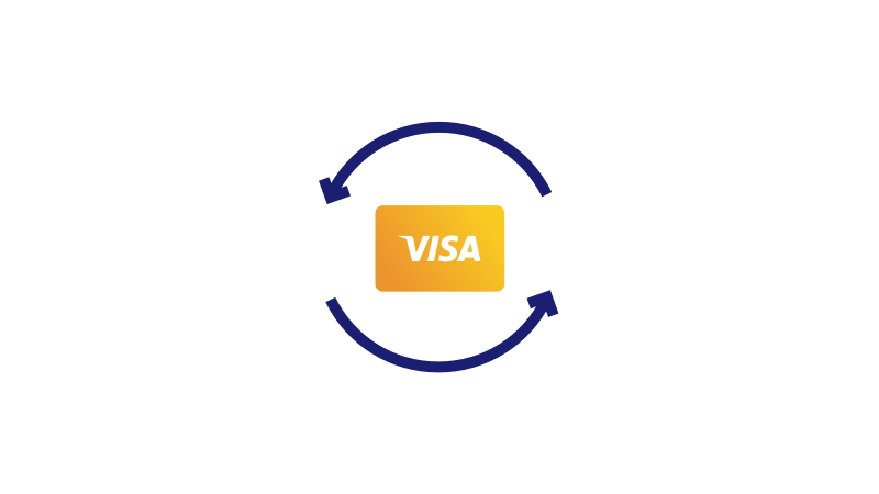 Illustration of a Visa card circled by two blue arrows.